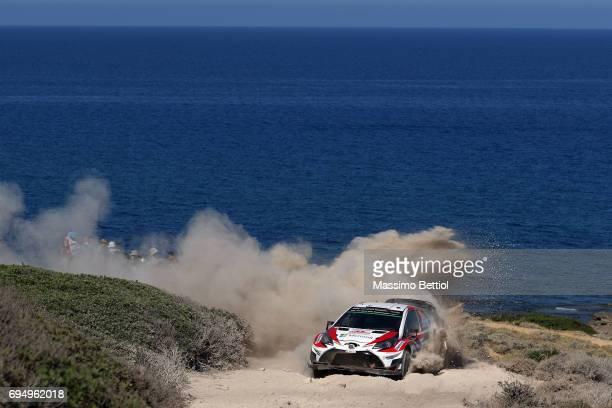 Jari Matti Latvala of Finland and Mikka Anttila of Finland compete in their Toyota Gazoo Racing WRT Toyota Yaris WRC during Day Three of the WRC...
