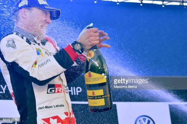 Jari Matti Latvala of Finland is celebrating his victory in the final podium during Day Three of the WRC Sweden on February 12 2017 in Karlstad Sweden