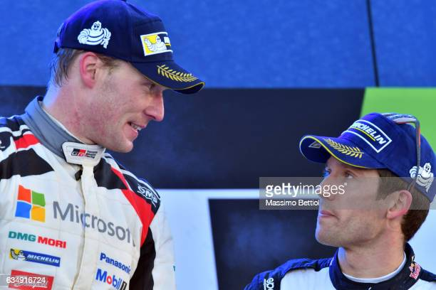 Jari Matti Latvala of Finland is talking with Sebastien Ogier of France in the final podium in Torsby during Day Three of the WRC Sweden on February...