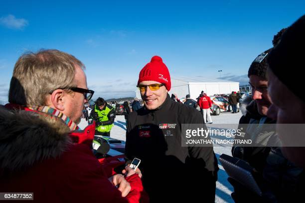 Jari Matti Latvala of Finland of team Toyota speaks to the media ahead of the 18th and final stage of the Rally Sweden second round of the FIA World...
