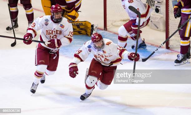 Jarid Lukosevicius of the Denver Pioneers celebrates his second goal of the game against the Minnesota Duluth Bulldogs during the 2017 NCAA Division...