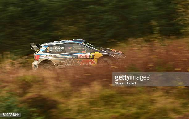 JariMatti Latvala and co driver Mikka Antilla of Finland and Volkswagen Motorsport during the FIA World Rally Championship Great Britain Brenig stage...