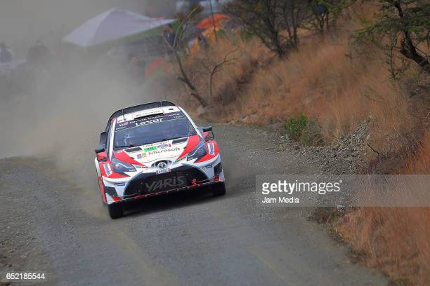JariMatti Latvala and Miikka Anttila of Toyota Gazoo Racing WRT Team drive during the FIA World Rally Championship Mexico Day Two on March 11 2017 in...