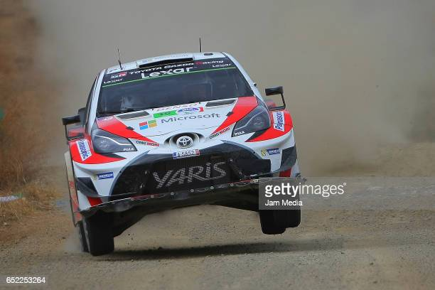 JariMatti Latvala and Miikka Anttila of Toyota Gazoo Racing WRT Team during the FIA World Rally Championship Mexico Day Two on March 11 2017 in...