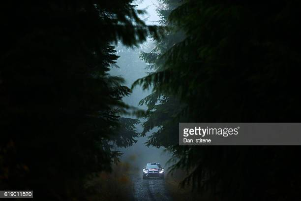 JariMatti Latvala of Finland and Volkswagen Motorsport drives with codriver Mikka Anttila of Finland and Volkswagen Motorsport during the Dyfi stage...