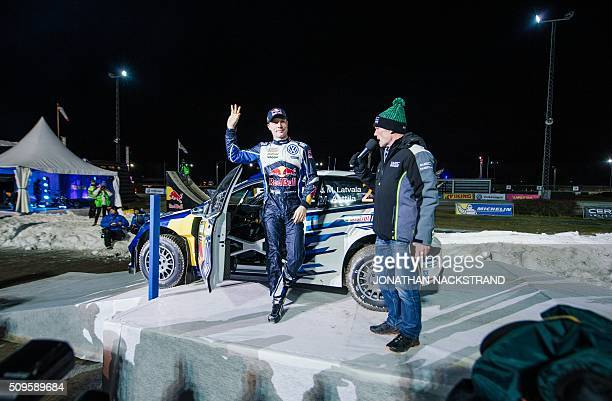 JariMatti Latvala of Finland with his Volkswagen Polo gestures ahead of the Rally Sweden second round of the FIA World Rally Championship on February...
