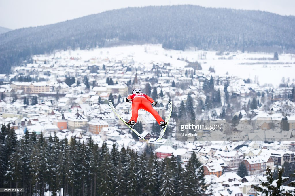 Jarkko Maeaettae in flight during the Large Hill Individual competition on day two of the FIS Ski Jumping World Cup on February 8 2015 in Titisee...