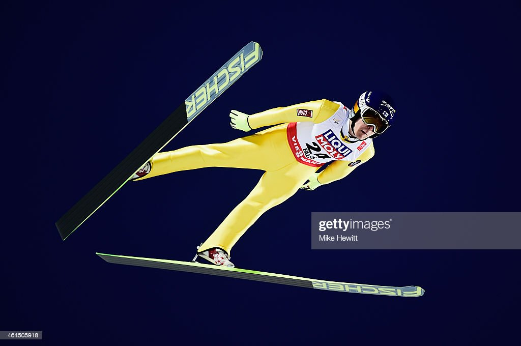 Jarkko Maeaettae of Finland competes during the Men's HS134 Large Hill Ski Jumping Final during the FIS Nordic World Ski Championships at the Lugnet...