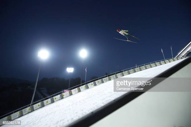 Jarkko Maeaettae of Finland jumps during trainining for the 2017 FIS Ski Jumping World Cup test event For PyeongChang 2018 at Alpensia Ski Jumping...