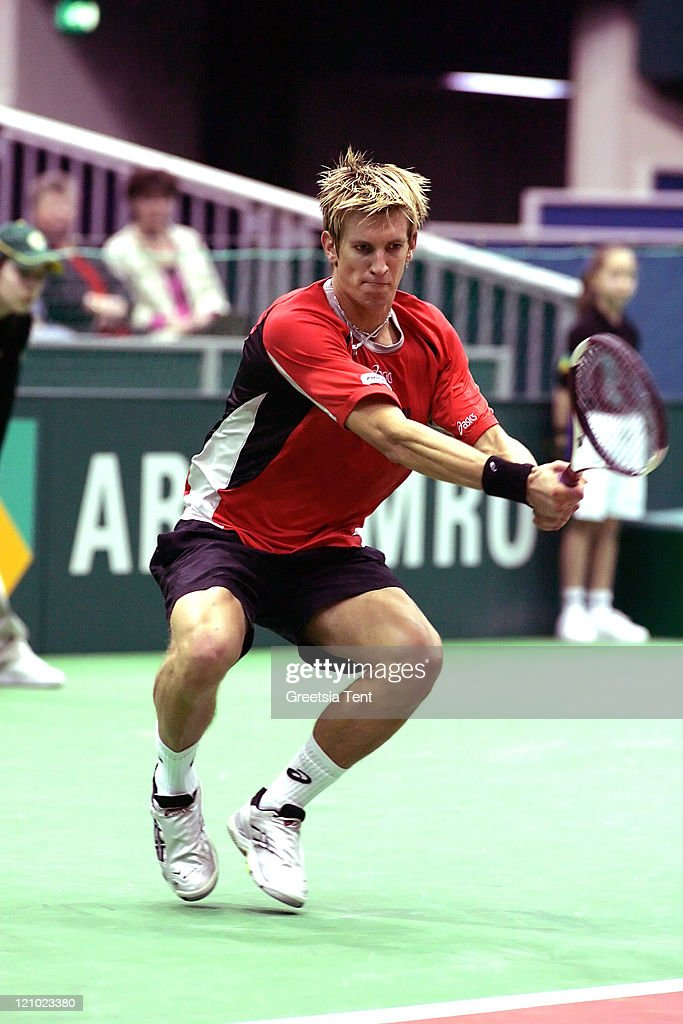 <a gi-track='captionPersonalityLinkClicked' href=/galleries/search?phrase=Jarkko+Nieminen&family=editorial&specificpeople=211396 ng-click='$event.stopPropagation()'>Jarkko Nieminen</a> in action against <a gi-track='captionPersonalityLinkClicked' href=/galleries/search?phrase=Mario+Ancic&family=editorial&specificpeople=171649 ng-click='$event.stopPropagation()'>Mario Ancic</a> during their first round match during the ABN AMRO World Tennis Tournament at the Ahoy' in Rotterdam, Netherlands on February 22, 2006. <a gi-track='captionPersonalityLinkClicked' href=/galleries/search?phrase=Jarkko+Nieminen&family=editorial&specificpeople=211396 ng-click='$event.stopPropagation()'>Jarkko Nieminen</a> defeated <a gi-track='captionPersonalityLinkClicked' href=/galleries/search?phrase=Mario+Ancic&family=editorial&specificpeople=171649 ng-click='$event.stopPropagation()'>Mario Ancic</a> 7-5, 7-6 (5).