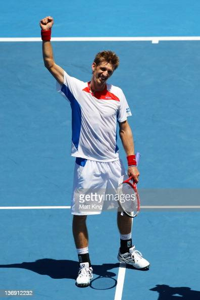 Jarkko Nieminen of Finalnd celebrates winning his semi final match against Denis Istomin of Uzbekistan during day six of the 2012 Sydney...