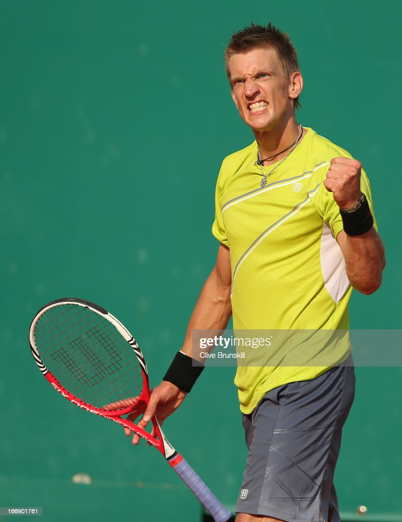 <a gi-track='captionPersonalityLinkClicked' href=/galleries/search?phrase=Jarkko+Nieminen&family=editorial&specificpeople=211396 ng-click='$event.stopPropagation()'>Jarkko Nieminen</a> of Finland celebrates a point during his three set victory against Juan Martin Del Potro of Argentina in their third round match during day five of the ATP Monte Carlo Masters,at Monte-Carlo Sporting Club on April 18, 2013 in Monte-Carlo, Monaco.