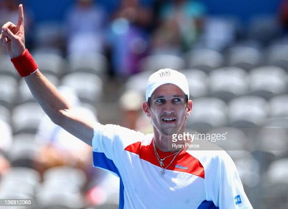 Jarkko Nieminen of Finland celebrates during his semi final match against Denis Istomin of Uzbekistan during day six of the 2012 Sydney International...