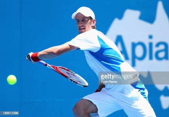 Jarkko Nieminen of Finland hits a backhand during his semi final match against Denis Istomin of Uzbekistan during day six of the 2012 Sydney...
