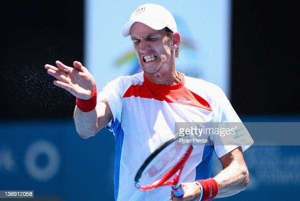 Jarkko Nieminen of Finland reacts after missing a shot during his semi final match against Denis Istomin of Uzbekistan during day six of the 2012...