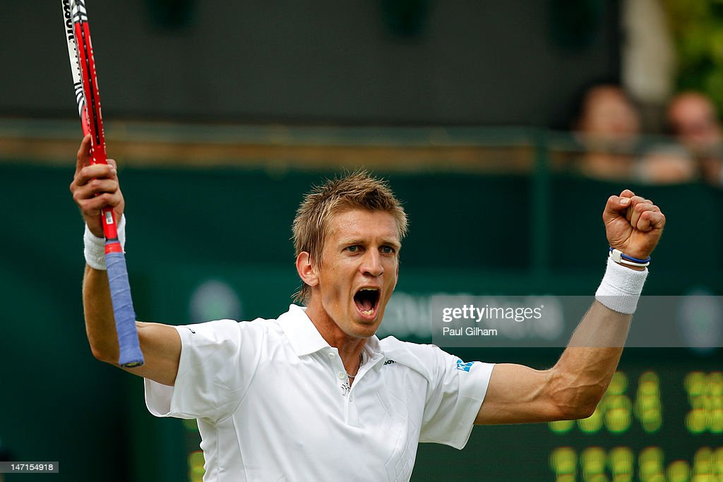 <a gi-track='captionPersonalityLinkClicked' href=/galleries/search?phrase=Jarkko+Nieminen&family=editorial&specificpeople=211396 ng-click='$event.stopPropagation()'>Jarkko Nieminen</a> of Finland reacts during his Gentlemen's Singles first round match against Feliciano Lopez of Spain on day two of the Wimbledon Lawn Tennis Championships at the All England Lawn Tennis and Croquet Club on June 26, 2012 in London, England.