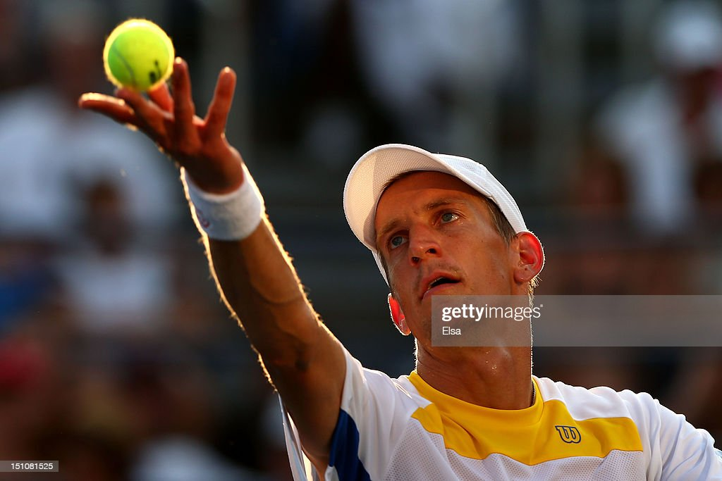 Jarkko Nieminen of Finland serves against John Isner of the United States in their men's singles second round match on Day Five of the 2012 US Open at USTA Billie Jean King National Tennis Center on August 31, 2012 in the Flushing neigborhood of the Queens borough of New York City.