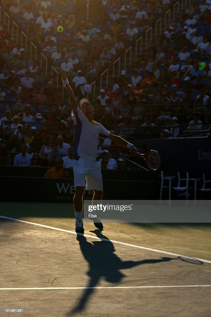 <a gi-track='captionPersonalityLinkClicked' href=/galleries/search?phrase=Jarkko+Nieminen&family=editorial&specificpeople=211396 ng-click='$event.stopPropagation()'>Jarkko Nieminen</a> of Finland serves the ball against John Isner of the United States in their men's singles second round match on Day Five of the 2012 US Open at USTA Billie Jean King National Tennis Center on August 31, 2012 in the Flushing neigborhood of the Queens borough of New York City.
