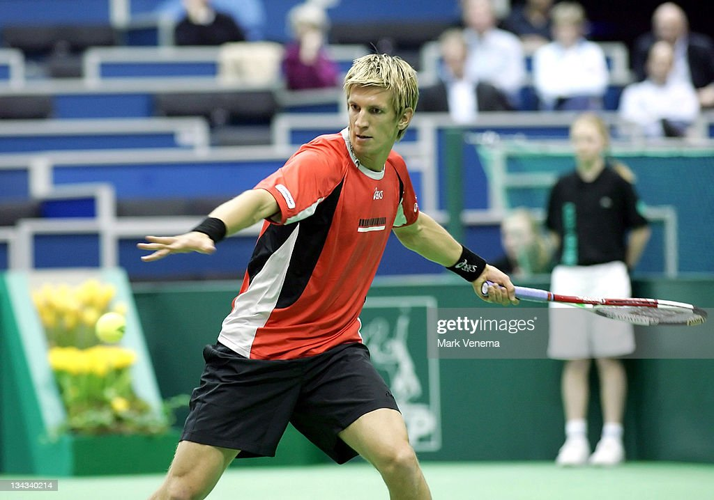 Jarkko Nieminen returns to Christophe Rochus during the semi-finals of the ABN AMRO World Tennis Tournament at the Ahoy' in Rotterdam, the Netherlands. Christophe Rochus (BEL) defeated Jarkko Nieminen (FIN) 6-4, 6-3 in the second semi-final. Finalists are Christophe Rochus and Radek Stepanek