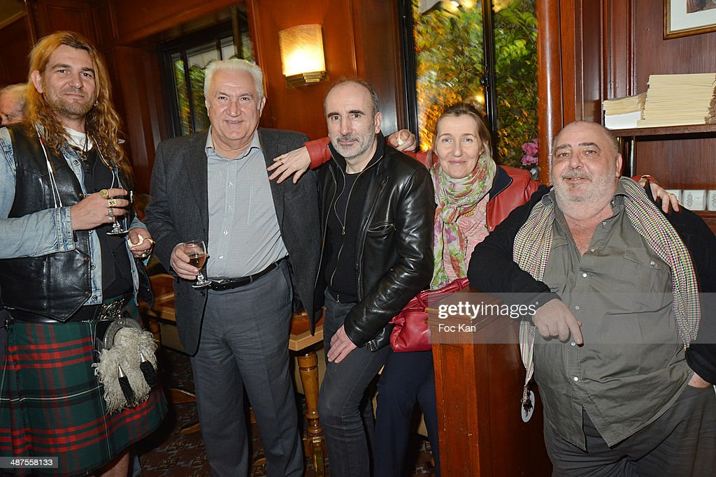 Jarl Ale de Basseville, Miroslav Siljegovic, Philippe Harel, Sylvie Bourgeois HarelÊand Marc Cohen attend the Francis Boussard's and Nadine Carpentier's : Private Cocktail At Cafe de Flore on April 30, 2014 in Paris, France.