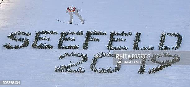 Jarl Magnus Riiber of Norway competes during the jumping event of the nordic combined world cup on January 29 2016 in Seefeld Austria / AFP / APA /...