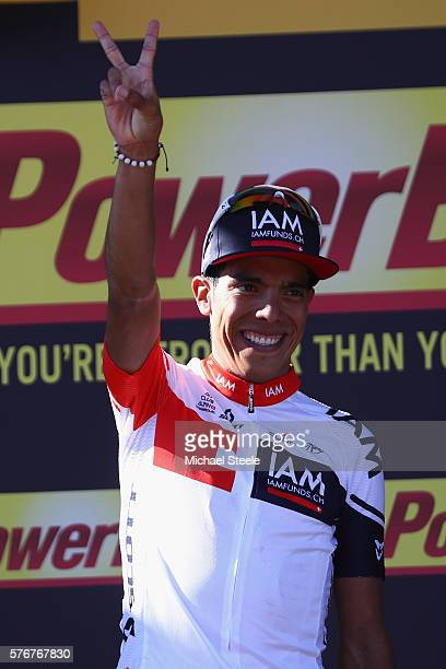 Jarlinson Pantano of Colombia and IAM Cycling celebrates his stage victory on the winners podium following the 160km stage15 of Le Tour de France...