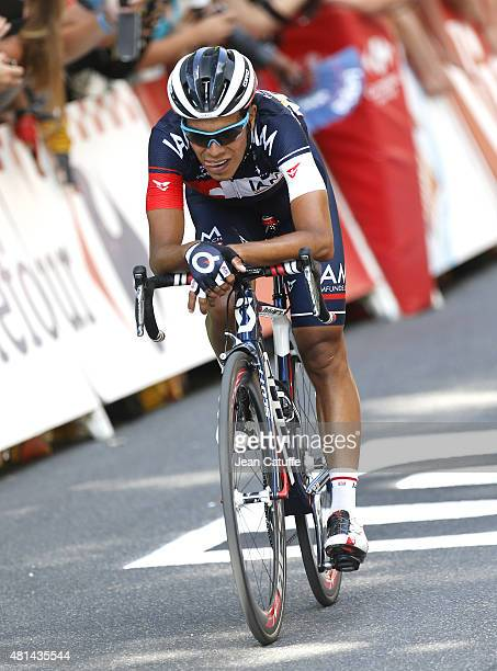 Jarlinson Pantano of Colombia and IAM Cycling crosses the finish line during stage sixteenth of the 2015 Tour de France a 201 km stage from Bourg de...