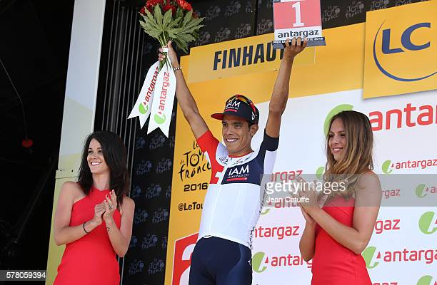 Jarlinson Pantano of Colombia and IAM Cycling earns the stage's best fighter trophy following stage 17 between Bern and FinhautEmosson on July 20...