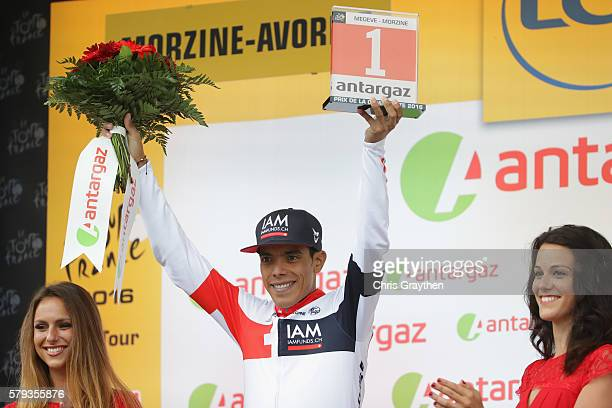 Jarlinson Pantano of Colombia and IAM Cycling earns the stage's best fighter trophy during stage twenty of the 2016 Le Tour de France from Megeve to...