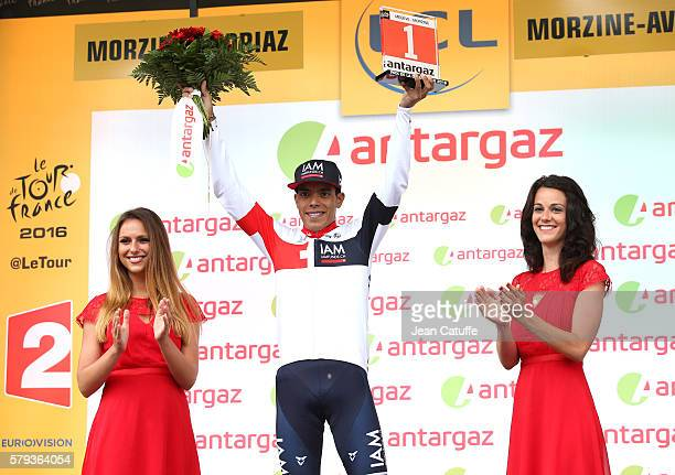 Jarlinson Pantano of Colombia and IAM Cycling receives the trophy for best fighter of the day following stage 20 of the Tour de France 2016 a stage...