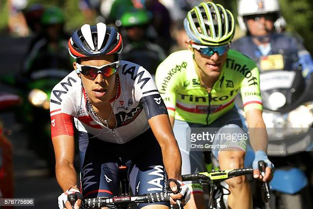Jarlinson Pantano of Colombia riding for IAM Cycling and Rafal Majka of Poland riding for Tinkoff ride in the breakaway during stage fifteen of the...
