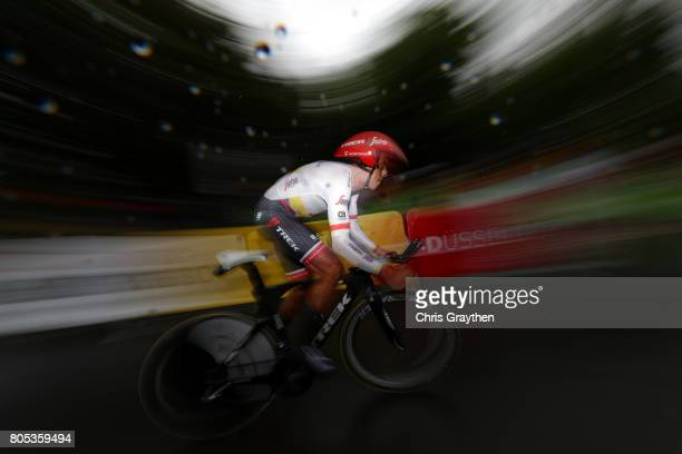 Jarlinson Pantano of Columbia and TrekSegafredo rides in the Individual Time Trial during stage one of the 2017 Le Tour de France a 14km stage on...