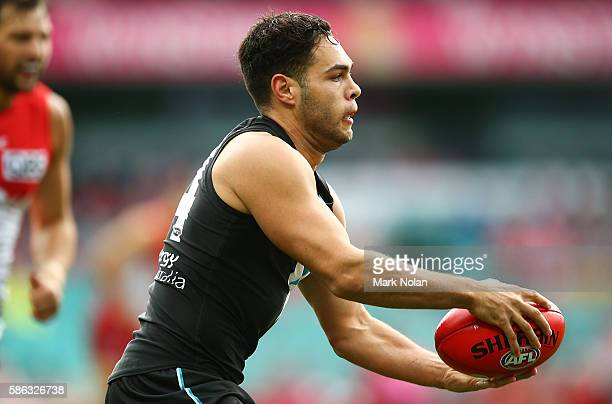 Jarman Impey of the Power in action during the round 20 AFL match between the Sydney Swans and the Port Adelaide Power at Sydney Cricket Ground on...