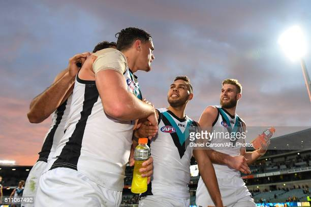 Jarman Impey of the Power is happy with the win during the 2017 AFL round 16 match between the West Coast Eagles and the Port Adelaide Power at...