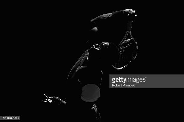 Jarmere Jenkins of USA serves in his qualifying match against Marco Cecchinato of Italy for 2015 Australian Open at Melbourne Park on January 16 2015...