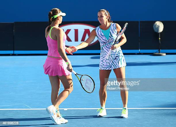 Jarmila Gajdosova of Australia and Ajla Tomljanovic of Australia in action in her second round match against Michaella Krajicek of the Netherlands...