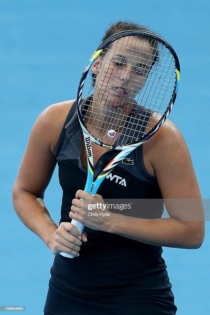 Jarmila Gajdosova of Australia looks dejected during her match against Lesia Tsurenko of Ukraine on day four of the Brisbane International at Pat Rafter Arena on January 2, 2013 in Brisbane, Australia.