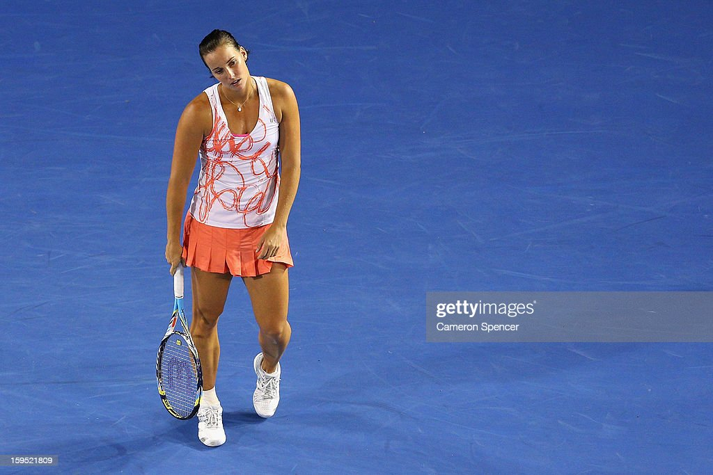 Jarmila Gajdosova of Australia looks dejected in her first round match against Yanina Wickmayer of Belgium during day two of the 2013 Australian Open at Melbourne Park on January 15, 2013 in Melbourne, Australia.