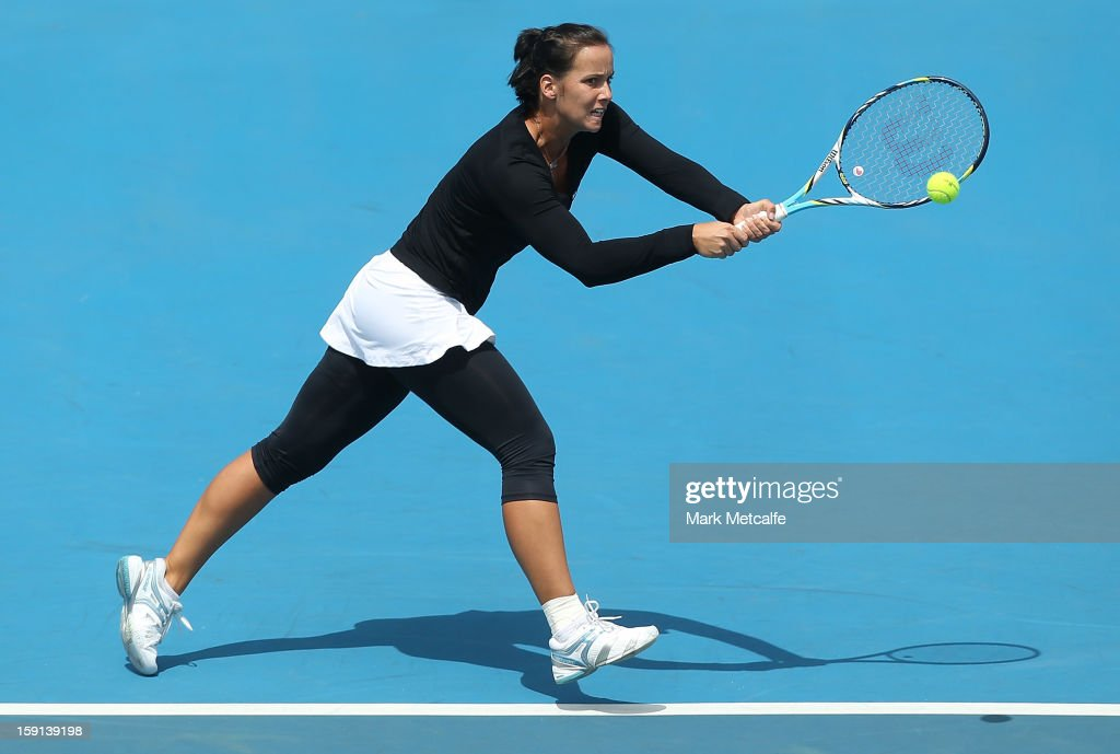 Jarmila Gajdosova of Australia plays a backhand in her second round match against Olga Govortsova of Belarus during day five of the Hobart International at Domain Tennis Centre on January 8, 2013 in Hobart, Australia.