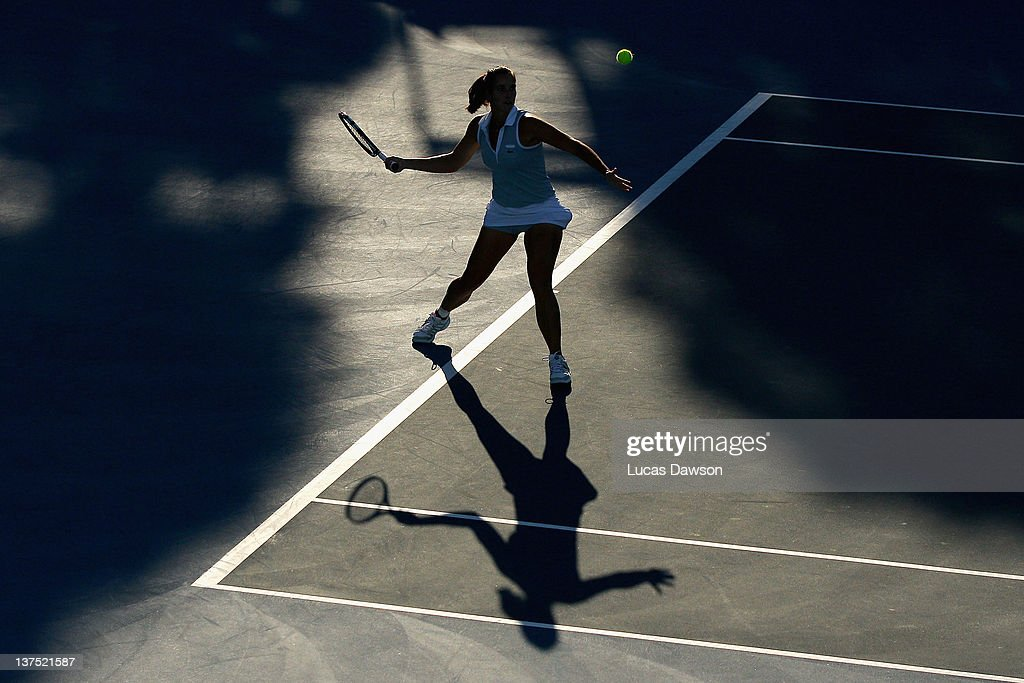 Jarmila Gajdosova of Australia plays a forehand in her first round mixed doubles match with Bruno Soares of Brazil against Sara Errani of Italy and David Marrero of Spain during day seven of the 2012 Australian Open at Melbourne Park on January 22, 2012 in Melbourne, Australia.
