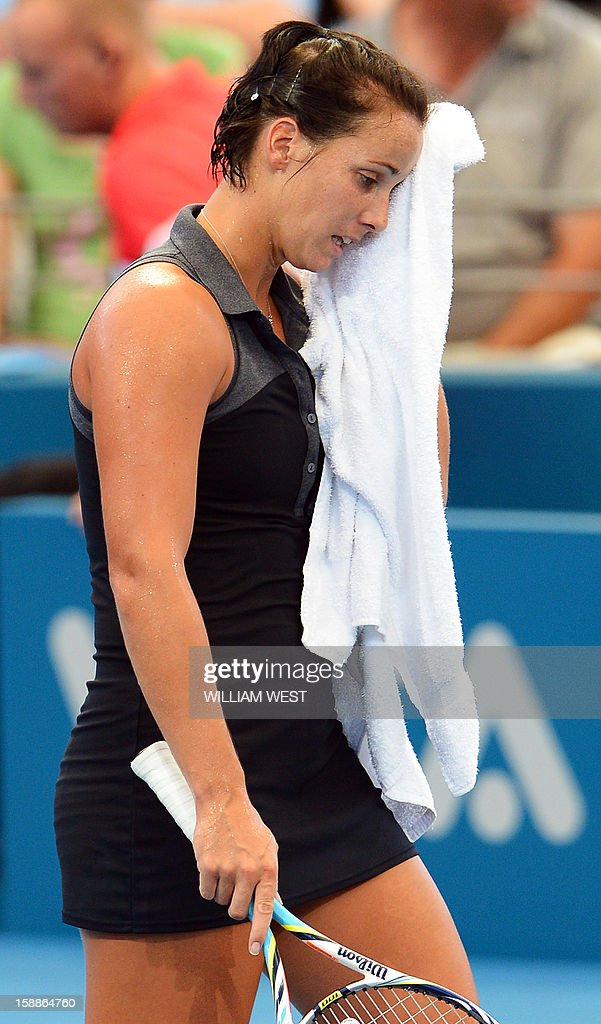 Jarmila Gajdosova of Australia reacts during her loss to Lesia Tsurenko of Ukraine in the second round at the Brisbane International tennis tournament on January 2, 2013. AFP PHOTO/William WEST IMAGE