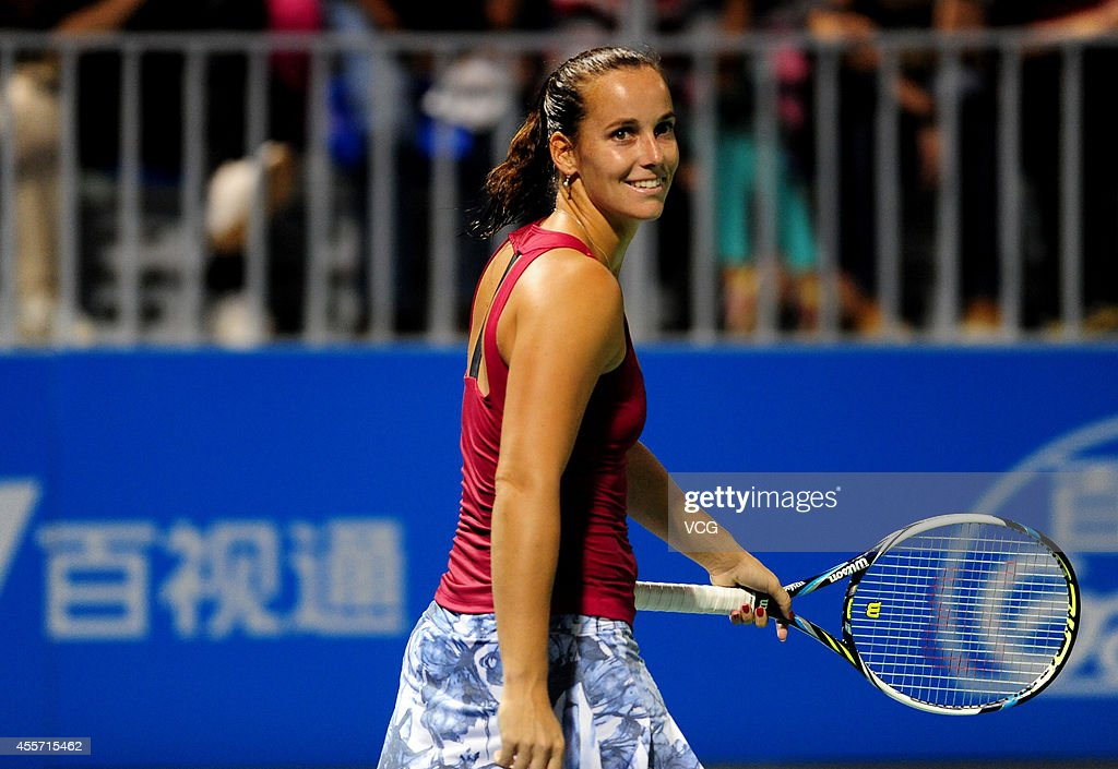 Jarmila Gajdosova of Australia reacts in the qualifying match against Lauren Davis of the United States prior to the start of 2014 WTA Wuhan Open at Optical Valley International Tennis Center on September 19, 2014 in Wuhan, China.