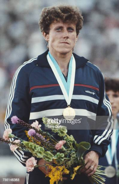 Jarmila Kratochvílova of Czechoslovakia stands on the podium after receiving her gold medal for winning the Women's 800 metres event at the IAAF...