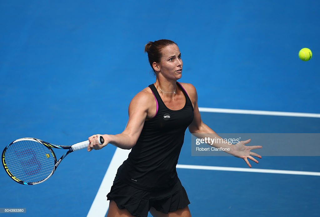 <a gi-track='captionPersonalityLinkClicked' href=/galleries/search?phrase=Jarmila+Wolfe&family=editorial&specificpeople=15307341 ng-click='$event.stopPropagation()'>Jarmila Wolfe</a> of Australia plays a forehand in the women's single's match against Naomi Osaka of Japan during day two of the 2016 Hobart International at the Domain Tennis Centre on January 11, 2016 in Hobart, Australia.