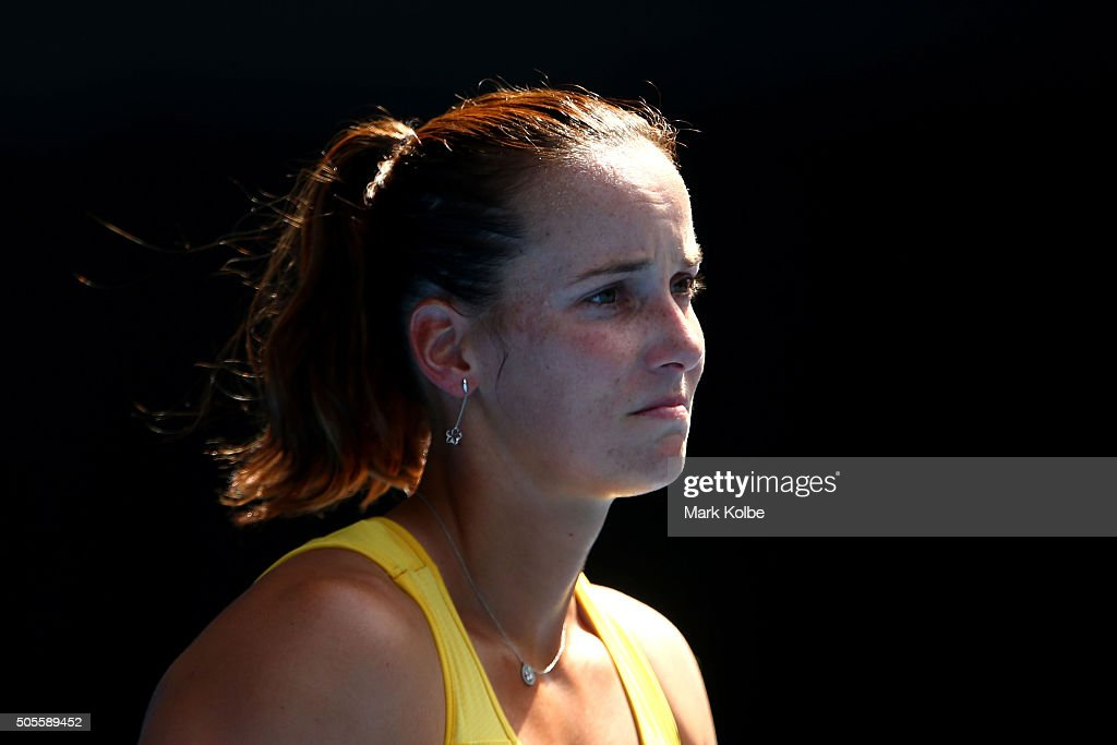 <a gi-track='captionPersonalityLinkClicked' href=/galleries/search?phrase=Jarmila+Wolfe&family=editorial&specificpeople=15307341 ng-click='$event.stopPropagation()'>Jarmila Wolfe</a> of Australia reacts in her first round match against Anastasija Sevastova of Latvia during day two of the 2016 Australian Open at Melbourne Park on January 19, 2016 in Melbourne, Australia.
