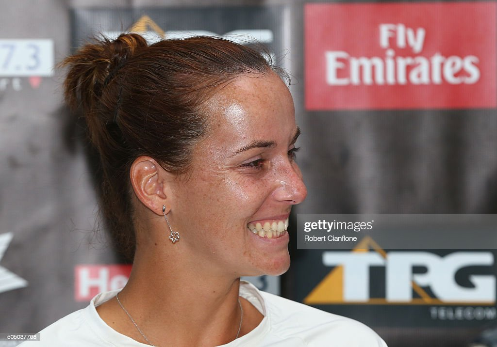 <a gi-track='captionPersonalityLinkClicked' href=/galleries/search?phrase=Jarmila+Wolfe&family=editorial&specificpeople=15307341 ng-click='$event.stopPropagation()'>Jarmila Wolfe</a> of Australia speaks to the media during day six of the 2016 Hobart International at the Domain Tennis Centre on January 15, 2016 in Hobart, Australia.