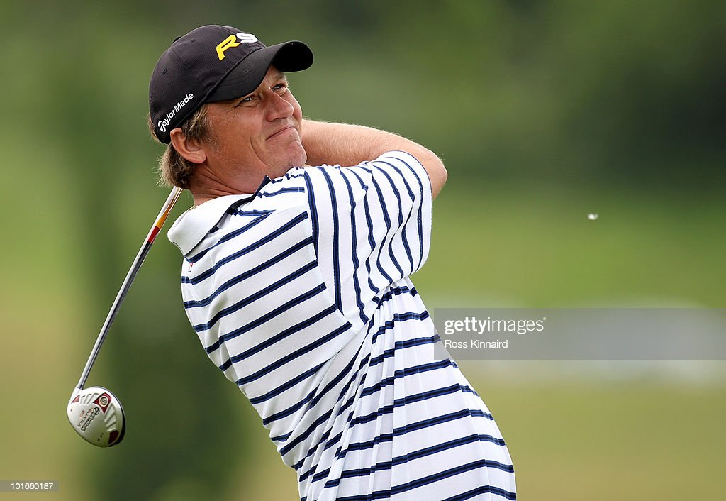 Jarmo Sandelin of Sweden during the final round of the Celtic Manor Wales Open on the 2010 Course at the Celtic Manor Resort on June 6 2010 in...