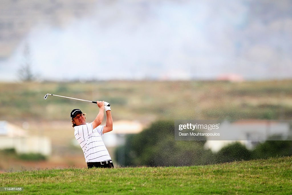 Jarmo Sandelin of Sweden hits a shot on the 3rd hole during day two of the Madeira Islands Open on May 20 2011 in Porto Santo Island Portugal