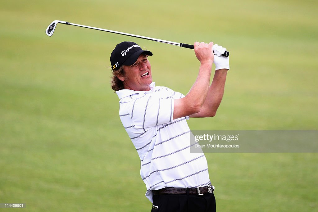 Jarmo Sandelin of Sweden hits his second shot on the 3rd hole during day two of the Madeira Islands Open on May 20 2011 in Porto Santo Island Portugal
