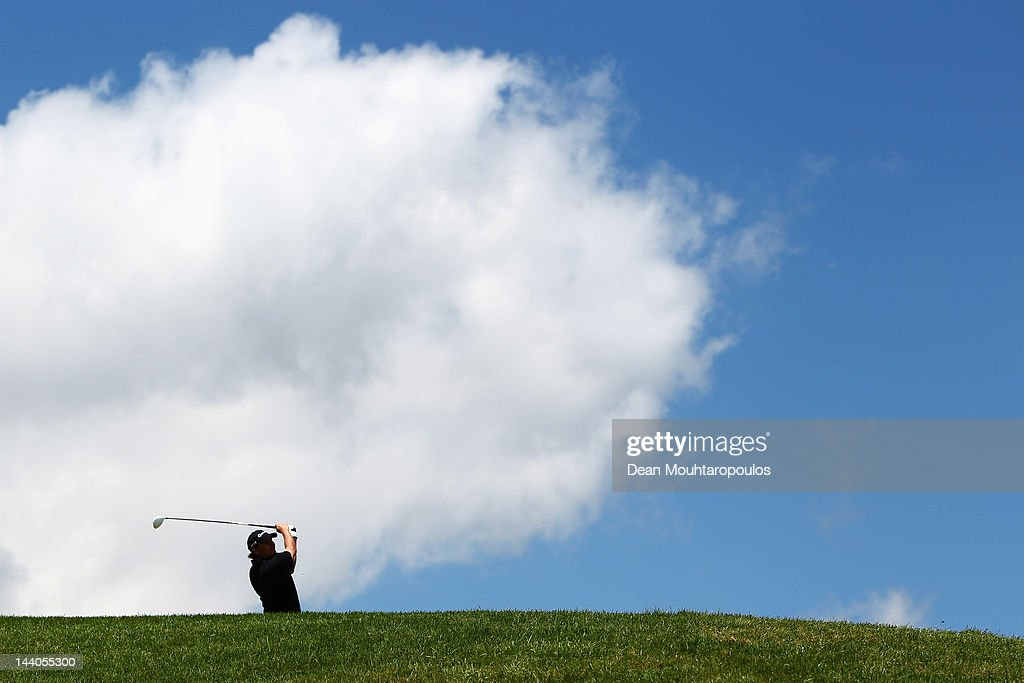Jarmo Sandelin of Sweden hits his tee shot on the 1st hole during the Madeira Islands Open ProAM day at Santo da Serra on May 9 2012 in Funchal...